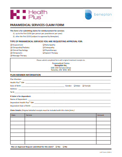 Paramedical Claim Form