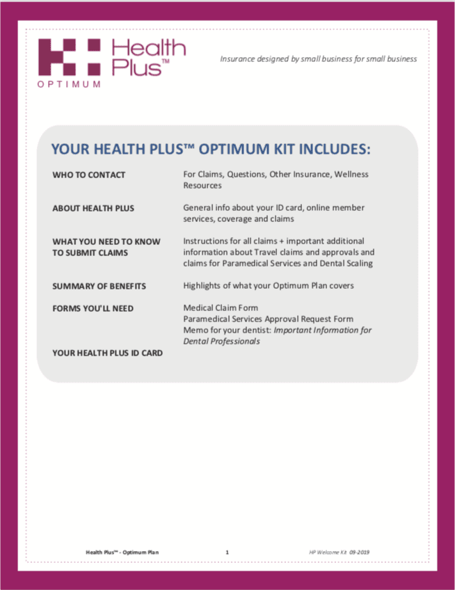 Health Plus Optimum Welcome Kit